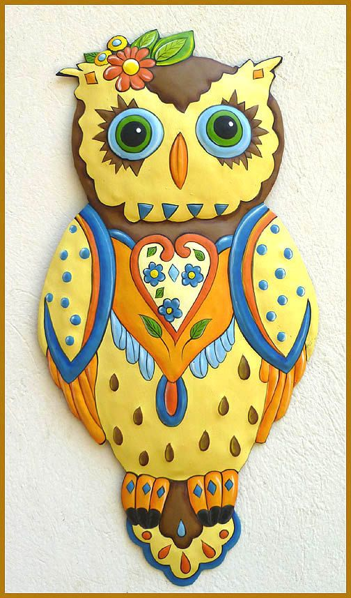 Painted Metal Art - Yellow Owl Wall Hanging, Metal Art Owl Design ...