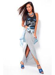 Falda larga mujer punto elástico gris