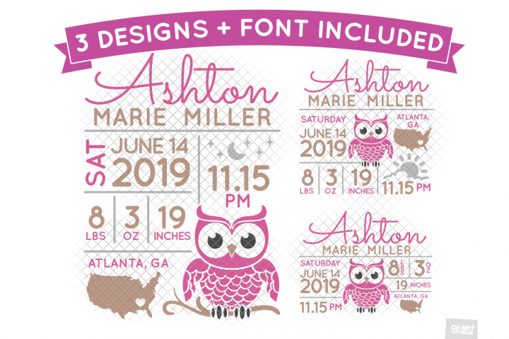Owl Birth Stats Svg Announcement Template In Svg Dxf Eps Ohmycuttables Crafters Svgs Birth Stats Template Birth Stats Svg