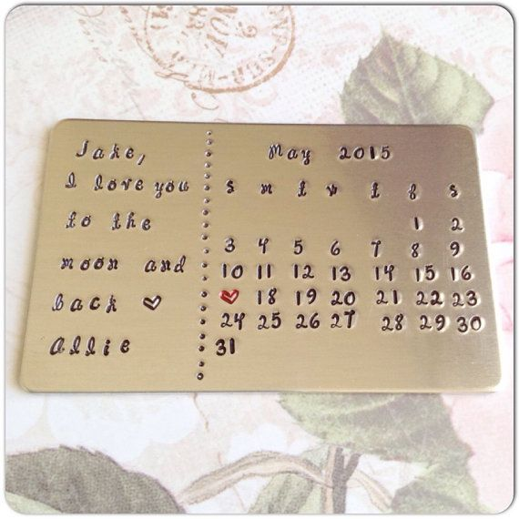 calendar with personal message wallet card hand stamped wallet insert with letter for groom or bride wedding present anniversary gift