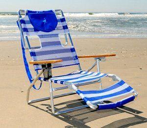 Delightful Ostrich 3 N 1 Beach Chair Lounge   Blue / White Stripe