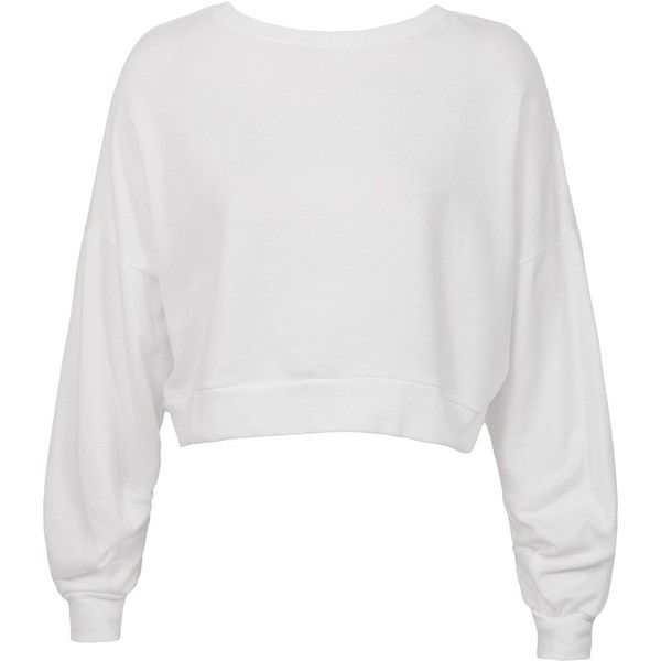 375078af261 Sans Souci White ruched sleeve cropped sweatshirt ($29) ❤ liked on Polyvore  featuring tops, hoodies, sweatshirts, white, sweater pullover, white  pullover ...