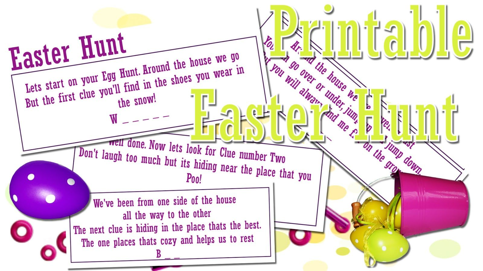 Free Print Out Printable Easter Egg Treasure Hunt Clues