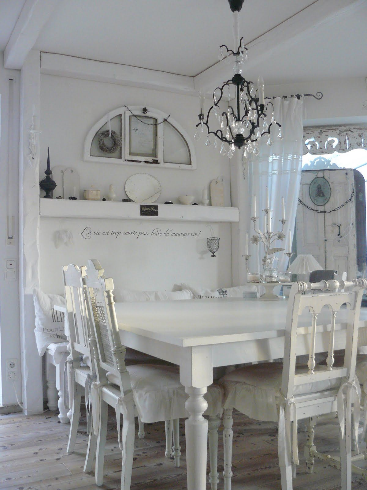 shabby chic dining room give me shabby pinterest. Black Bedroom Furniture Sets. Home Design Ideas
