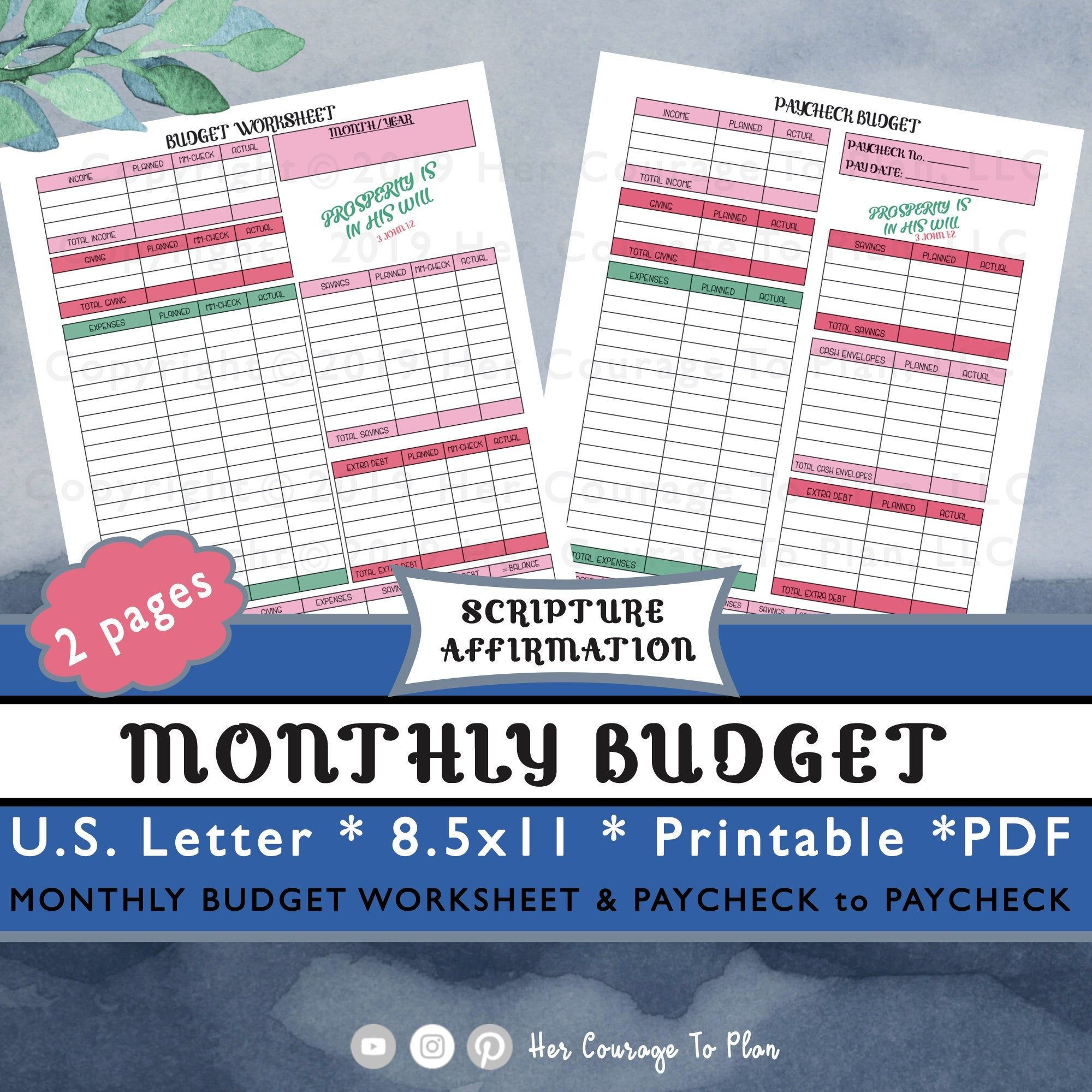 Budget Set Monthly Budget Amp Paycheck Colorful Scripture