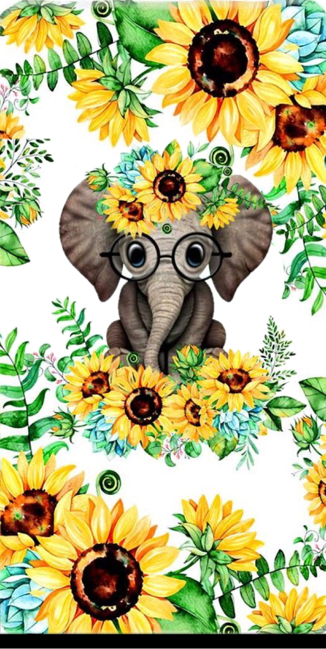 Pin By Kathy Gregory Watson On Cup Ideas Sunflower Wallpaper Elephant Wallpaper Sunflower Art