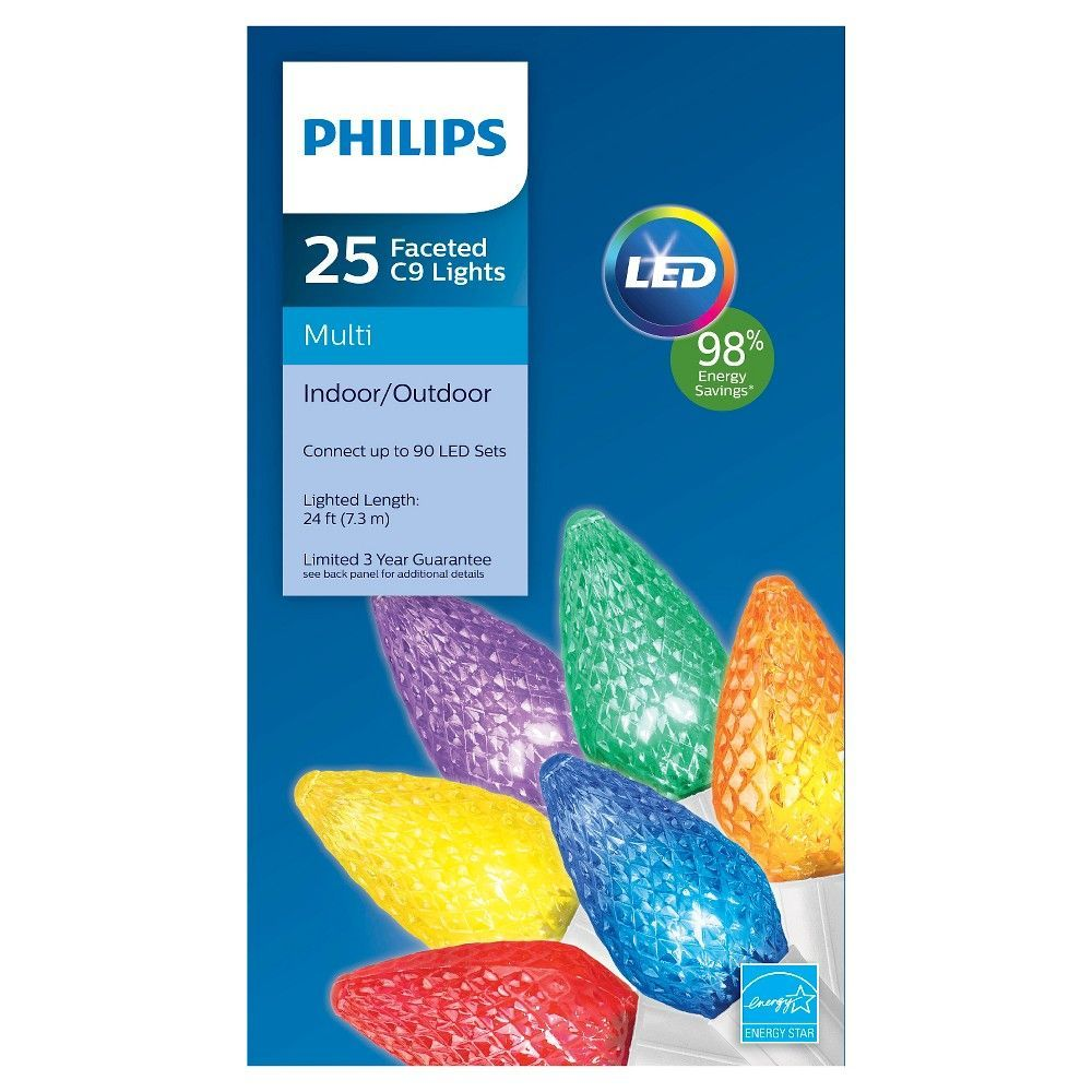 Philips 25 ct Led C9 Faceted String Lights (White Wire ...