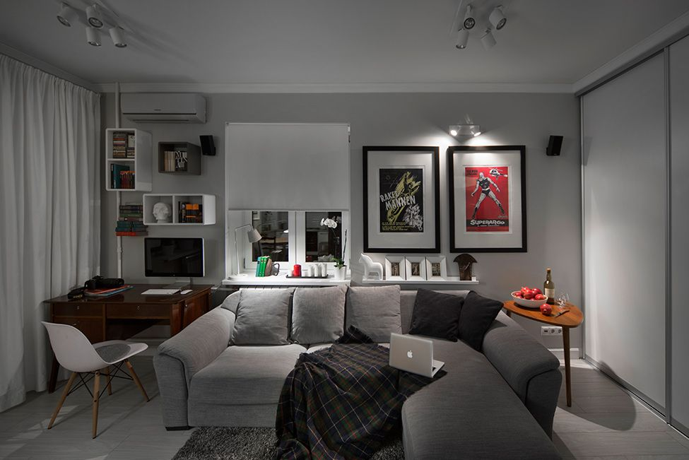 Bachelor Apartment Ideas Grey couch Compact Bachelor Haven in Moscow Defined by the Mix of Modern  with Retro - WOW!