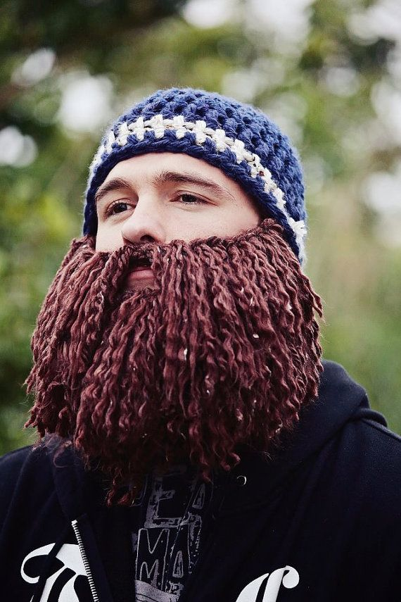 36f92bfce63 Beard Hat Beanie Custom Long Thick Burly Crochet Knit Hipster Hippie ...