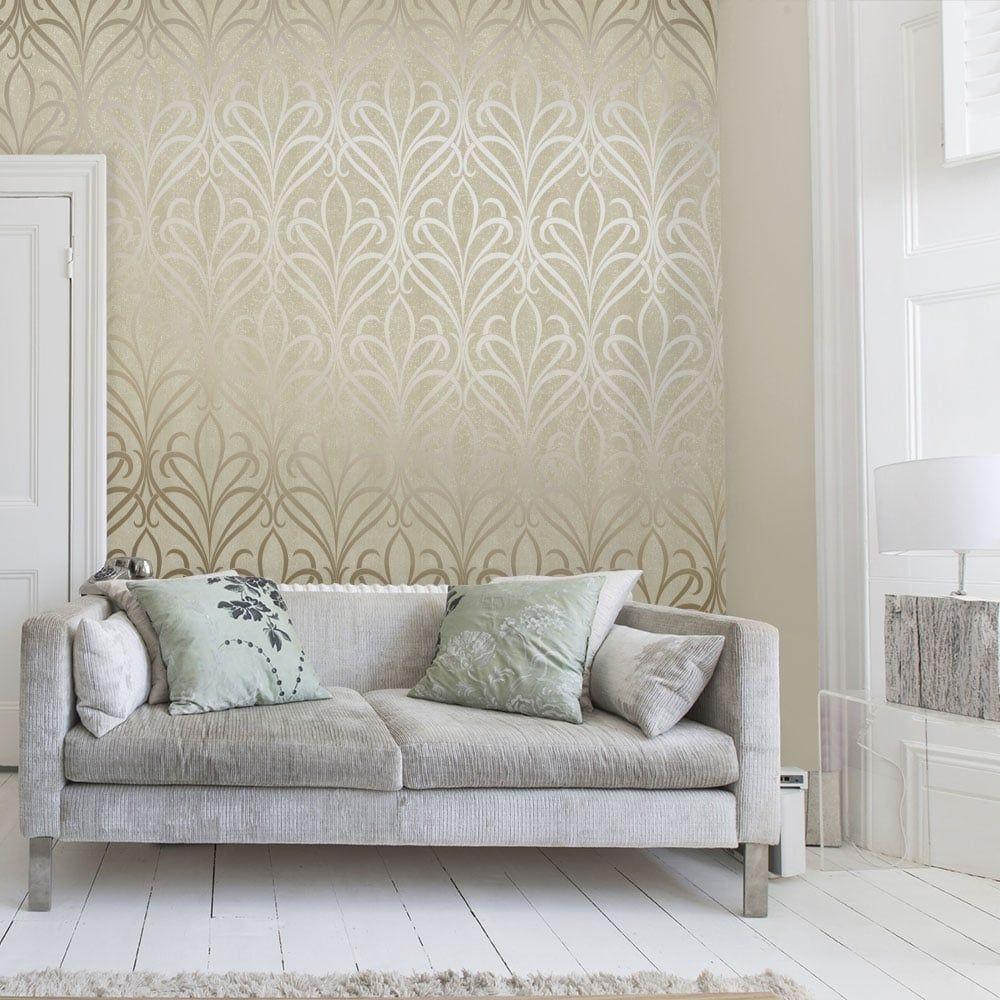 Henderson Interiors Camden Damask Wallpaper Cream Gold Silver