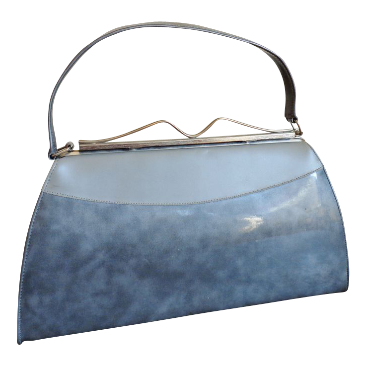 bdbb080e0ca7 Kelly Bag Purse Vintage 1950 s Shimmery Silver Gray from vfv on Ruby Lane