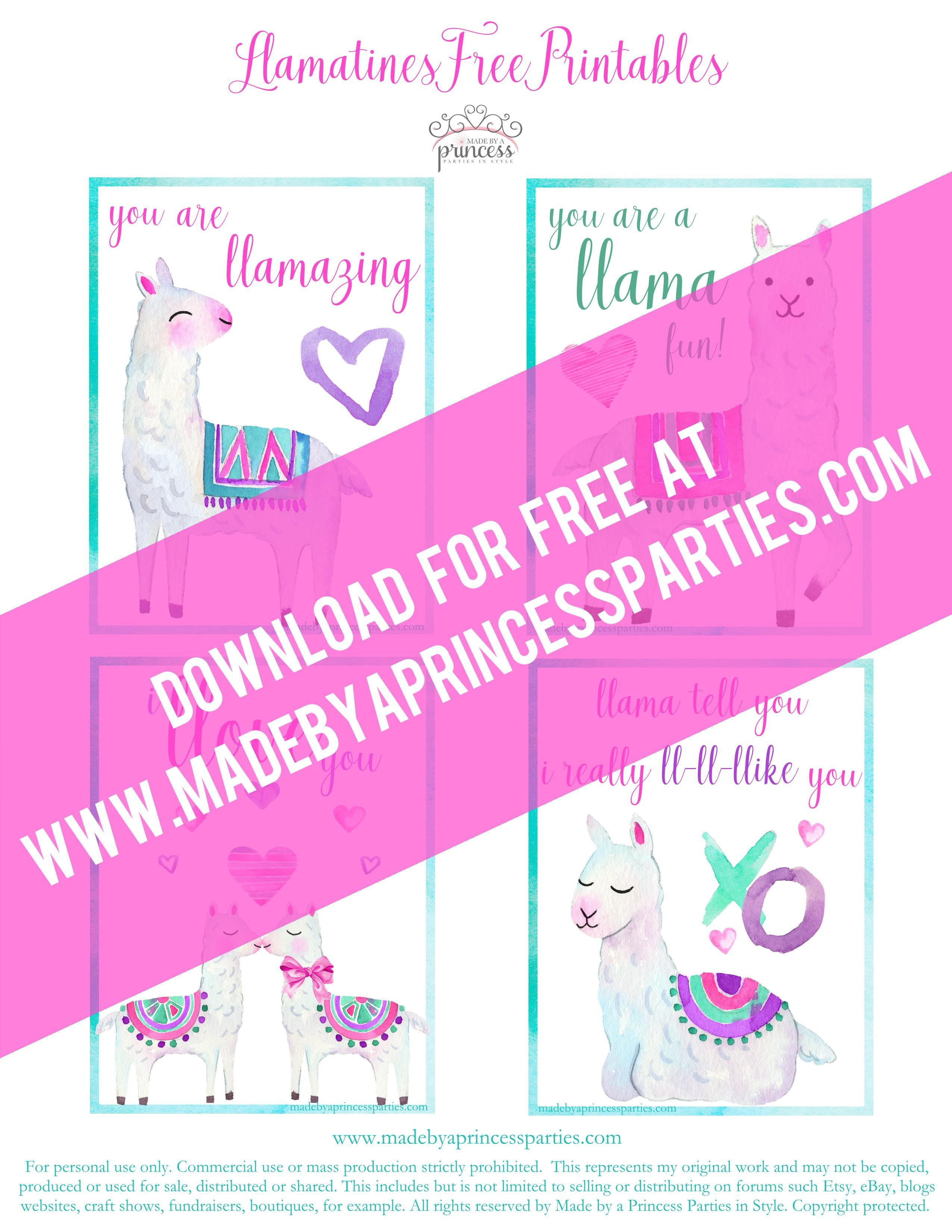 Free Llama Valentine Day Cards Frpm Madebyaprincess Made By A