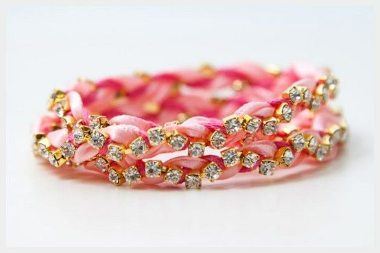 obsession<3 Directions: http://www.trinketsinbloom.com/wearable-diy/rhinestone-braided-bracelet-diy/