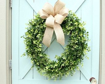 Boxwood Wreath ~ Spring Wreath ~ Burlap Bow Wreath ~ Year Round Wreath ~ Front  Door