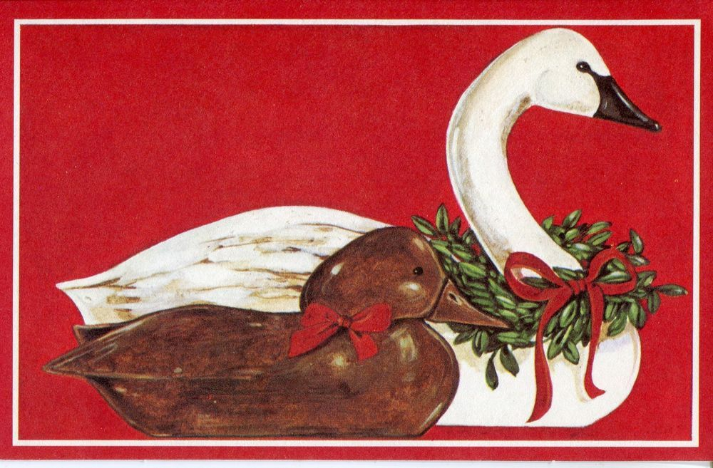 Vintage HGordon Fraser Christmas Card: Duck and Swan Decoys