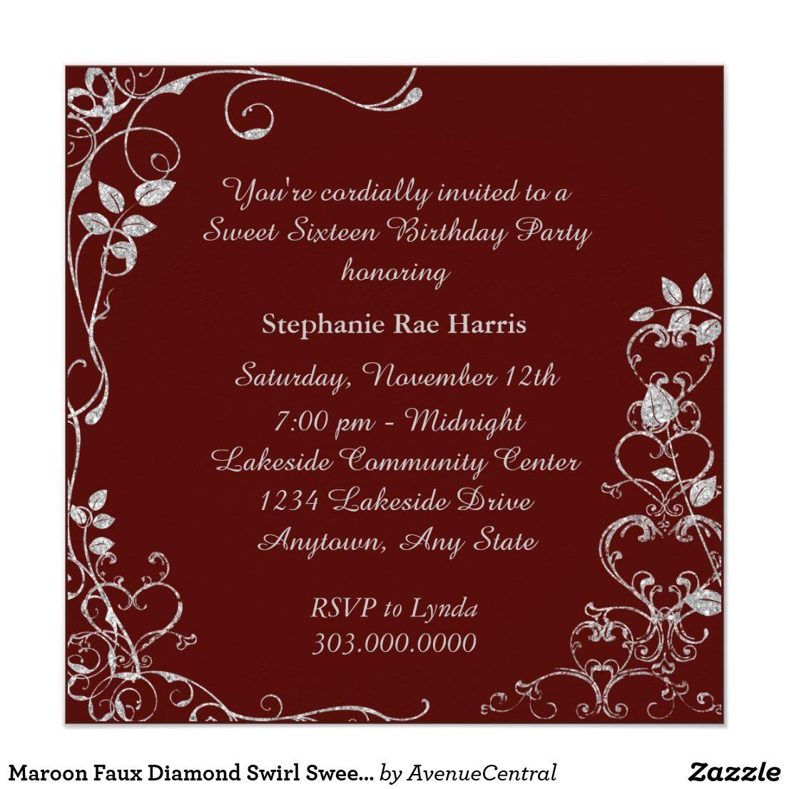 Maroon Faux Diamond Swirl Sweet 16 Birthday Party Invitation ...