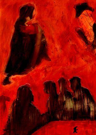 """3-Toulouse Lautrec x Cris Acqua.  Pintura Mixta Collage. 30x21 cm. HOMENAJE :""""Mi amor por este genial pintor...dueño de los trazos más libres y geniales de la Belle epoque, me han influido totalmente en mi camino por el arte..."""" (Cris Acqua)  http://www.crisacqua.com"""