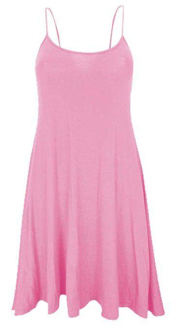 8e37937d10948 Women Celebrity Camisole Cami Sleeveless Flared Swing Strappy Vest Dress Ladies  Top Size 8-22  Amazon.co.uk  Clothing