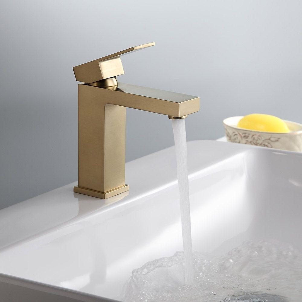 Stylish Luxury Deck Mounted One Hole Single Handle Bathroom Sink Faucet Brushed Gold Finish Solid Brass In 2021 Sink Faucets Single Handle Bathroom Sink Faucet Bathroom Sink Faucets