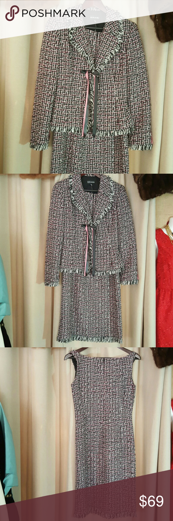 2 pc Shani suit This is so lovely. Tweed.  Pink black and white. Two pieces. Dress and jacket. Removable Shani Dresses