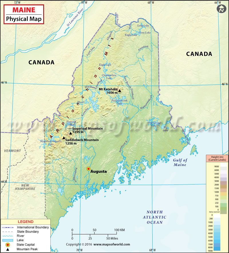 Physical Map Of Maine USA Maps Pinterest Rivers Mountains - Usa map physical