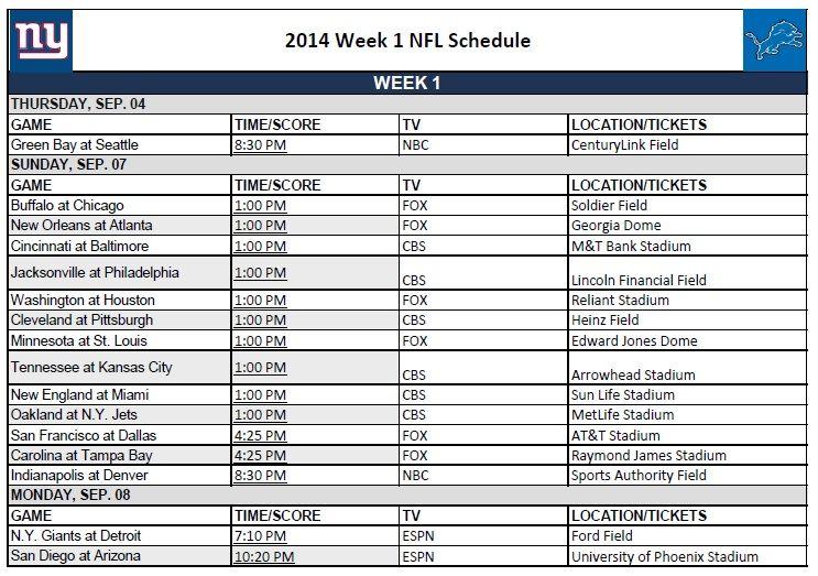 Printable Nfl Schedules Week 1 Print Your Weekly Nfl Schedule Printable Nfl Schedule Nfl Football Schedule Nfl Season Schedule