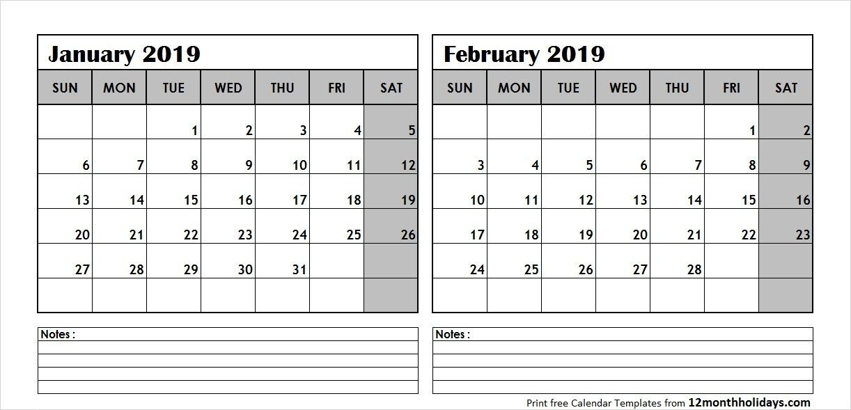 Calendar For January And February 2019 Printable January February 2019 Calendar Template | 100+ January