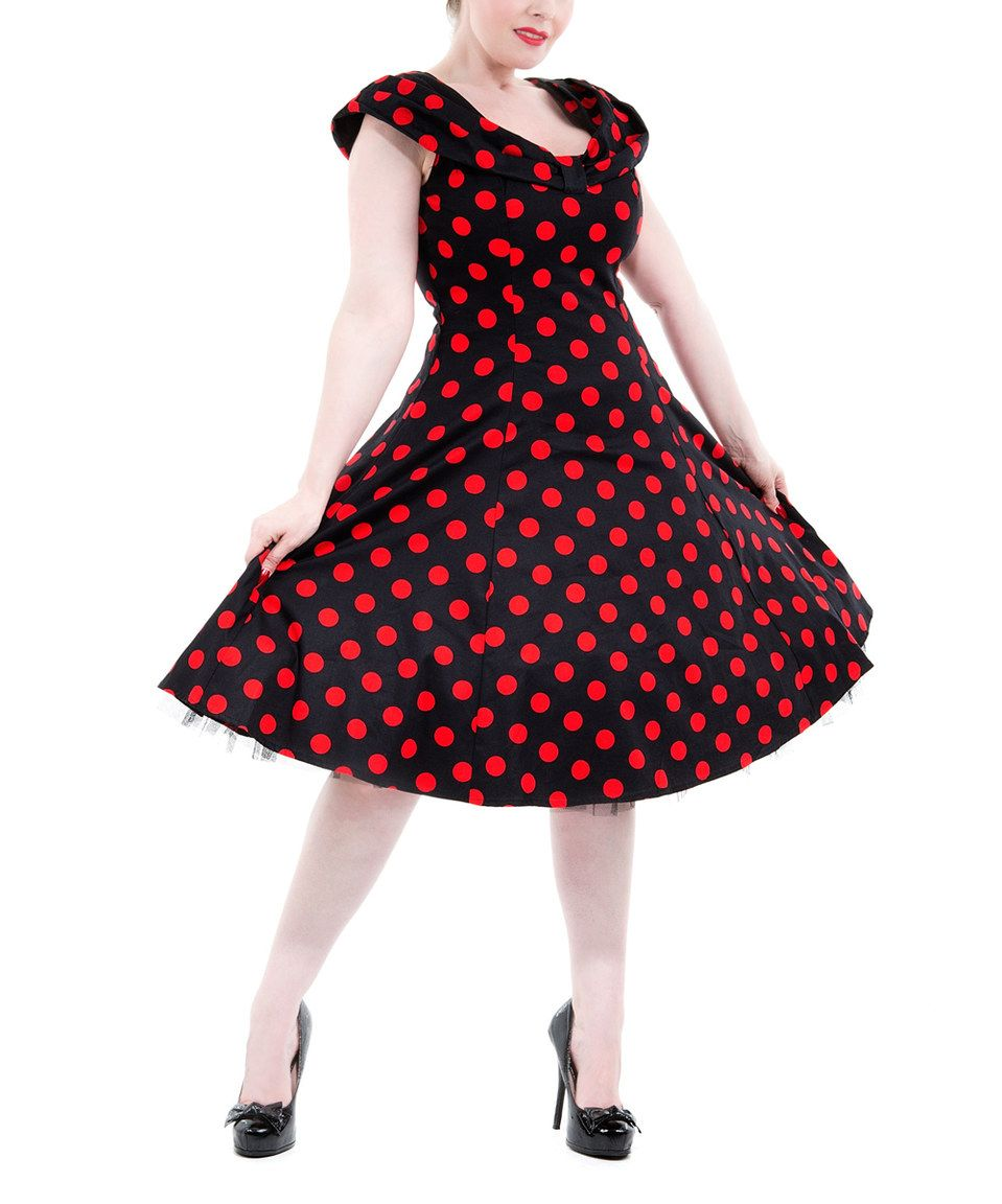 Black & Red Polka Dot Cap-Sleeve Dress by HEARTS & ROSES LONDON #zulily #zulilyfinds