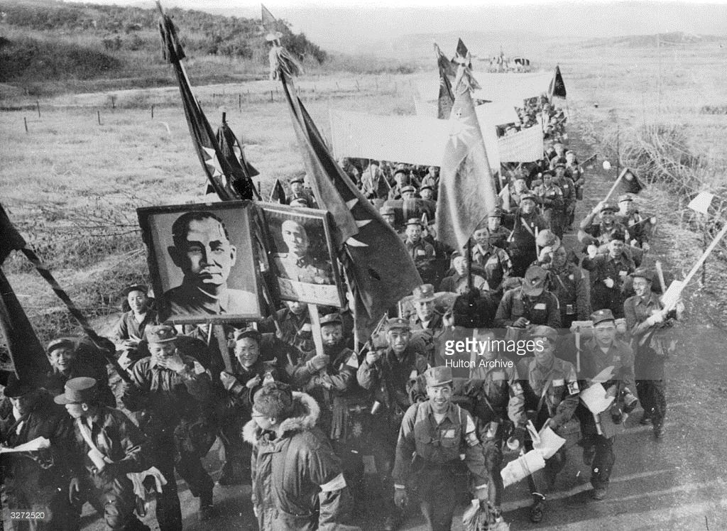Chinese Anti Communist Prisoners Of War In Korea Marching To