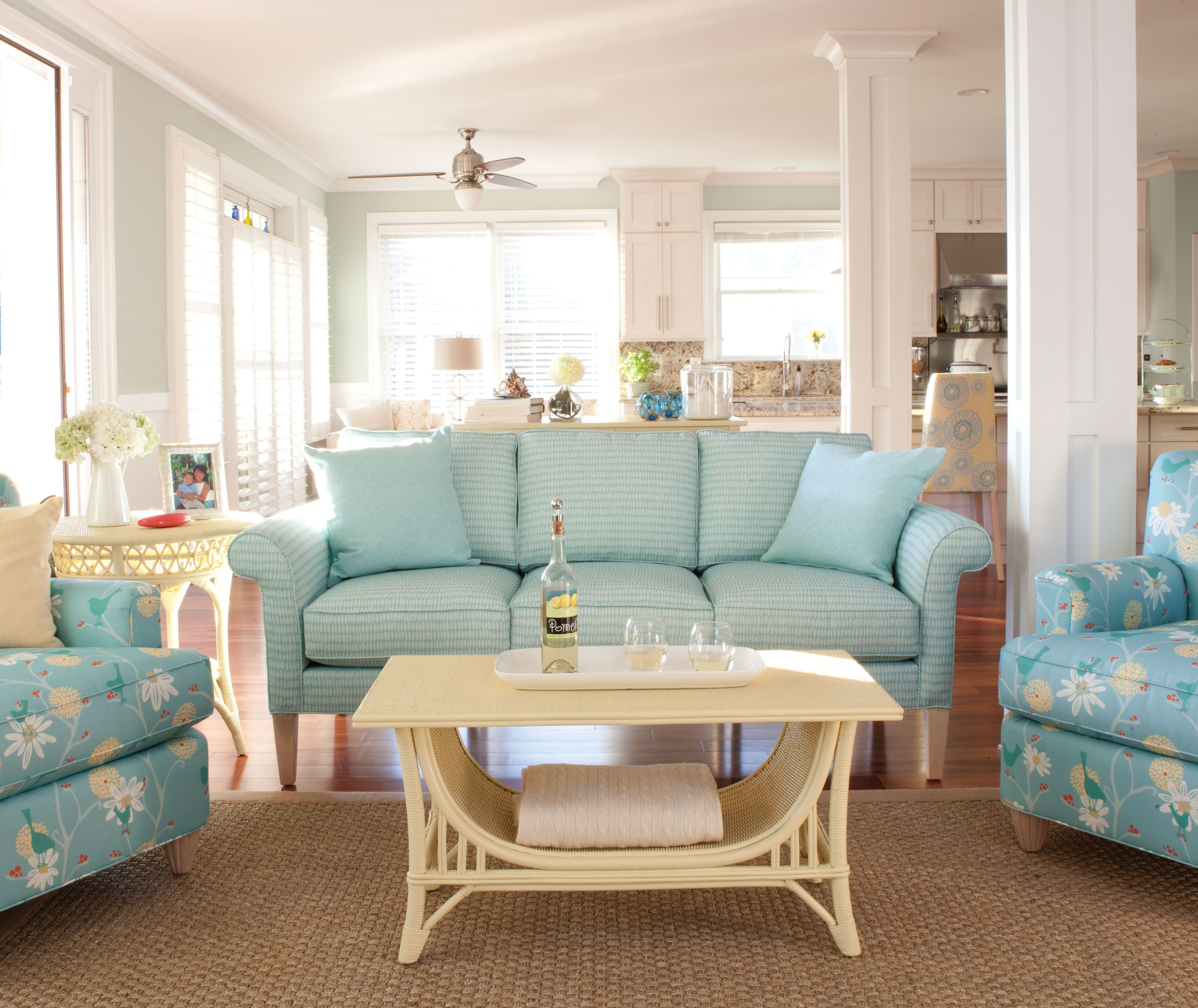 Pale Color On The Walls In The Background Coastal Cottage Living Room Living Room Decor Rustic Blue Sofa Design #rustic #cottage #living #room