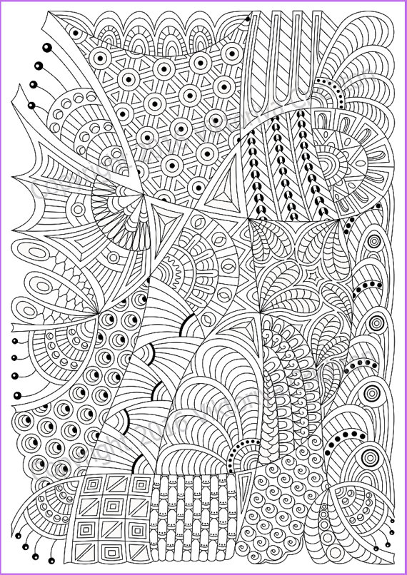 Zentangle Coloring Page For Adult PDF Zentangle Pattern