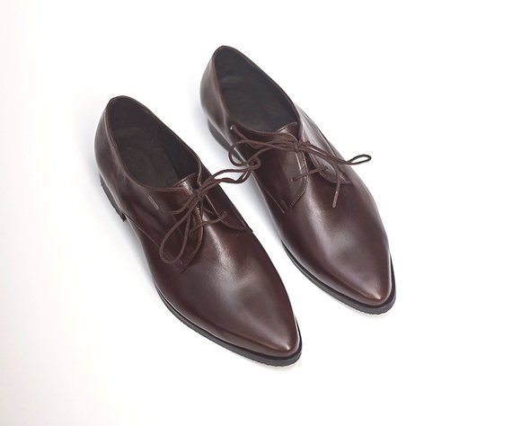 Women Formal Oxford Shoes Elegant Lace Up Leather Shoes Dark Brown