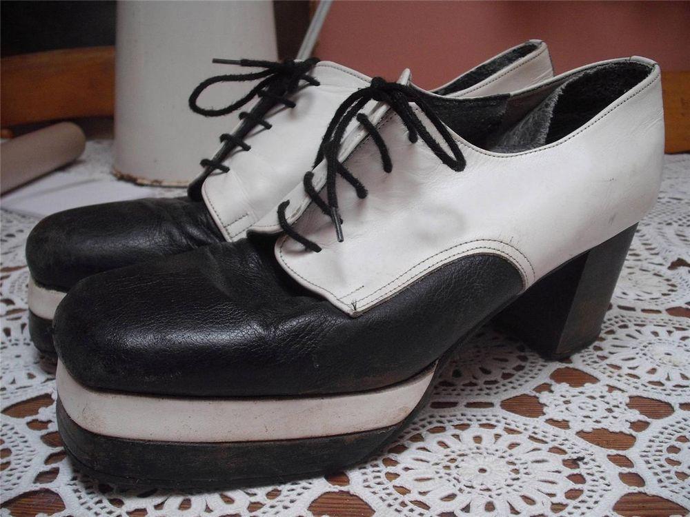 48713484e17 Vintage 1970s  black   white mens platform shoes 7 in 2019