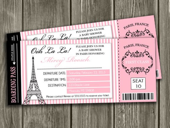 Printable Paris Boarding Pass Baby Shower Invitation Paris Ticket