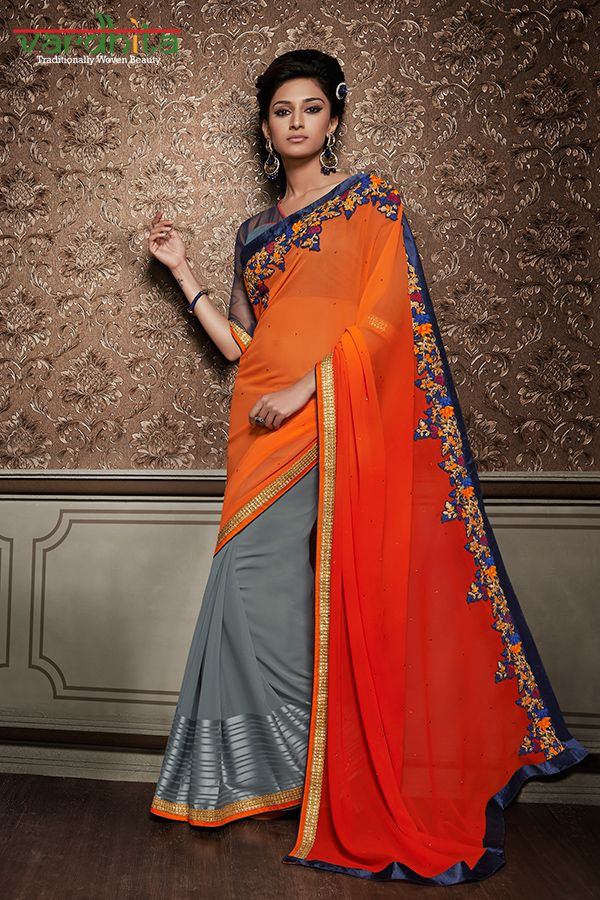 Grey & Orange Color Georgette Fabric Saree  http://www.vardhita.co.uk/product-category/sarees/