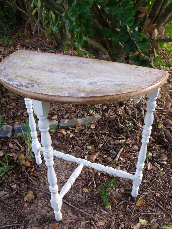Half Moon Table Demi Lune Table Shabby By ItTakesUnderstanding. $42.00 USD,  Via Etsy.