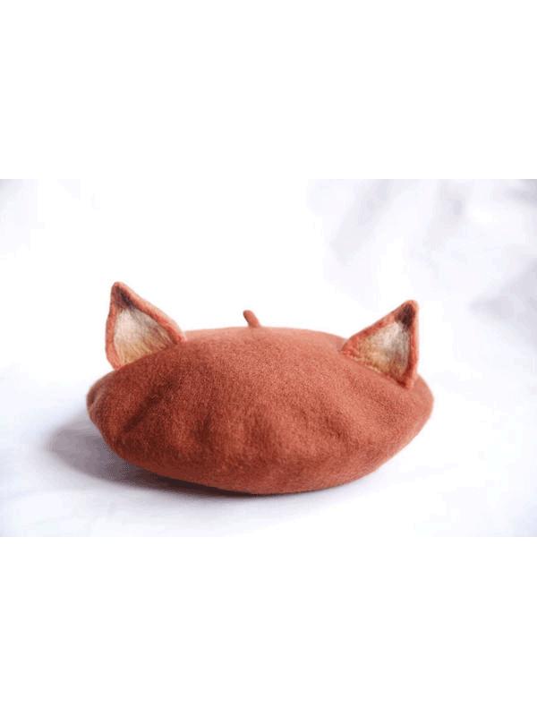 Light Brown Little Fox Beret Hat  d69e5365ea1b