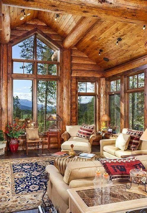 log cabin furniture ideas living room. Cabin Ideas, Living Room Designs, House Beautiful, Log Cabins, Decor, Eye Candy, Logs Furniture Ideas