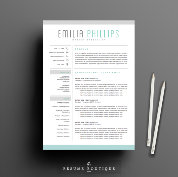 Resume Template Page  Aqua By TheResumeBoutique On