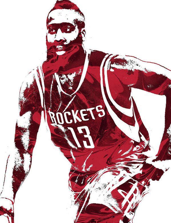 James Harden Houston Rockets Pixel Art 4 Art Print By Joe Hamilton Nba Pictures Houston Rockets James Harden