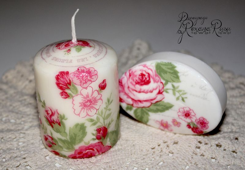 soap and candle decoupage romantische rosen seife und kerze decoupage www. Black Bedroom Furniture Sets. Home Design Ideas