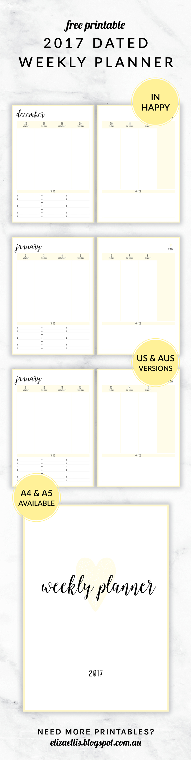 Free Printable 2017 Irma Collection Weekly Planner By Eliza Ellis Available In Both A4 And A5 Sizes And In Planner Printables Free Planner Weekly Planner