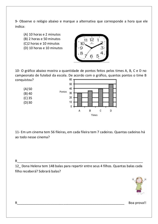 Suficiente Avaliação Diagnóstica de Matemática 4 ano | atividades para  LL34