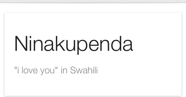 how to say my love in swahili