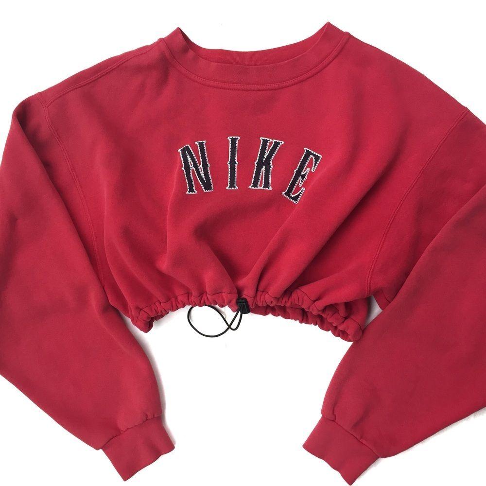 Reworked Nike Crop Sweatshirt Red Nike Cropped Sweatshirt Sweatshirts Crop Top Sweatshirt [ 1000 x 1000 Pixel ]