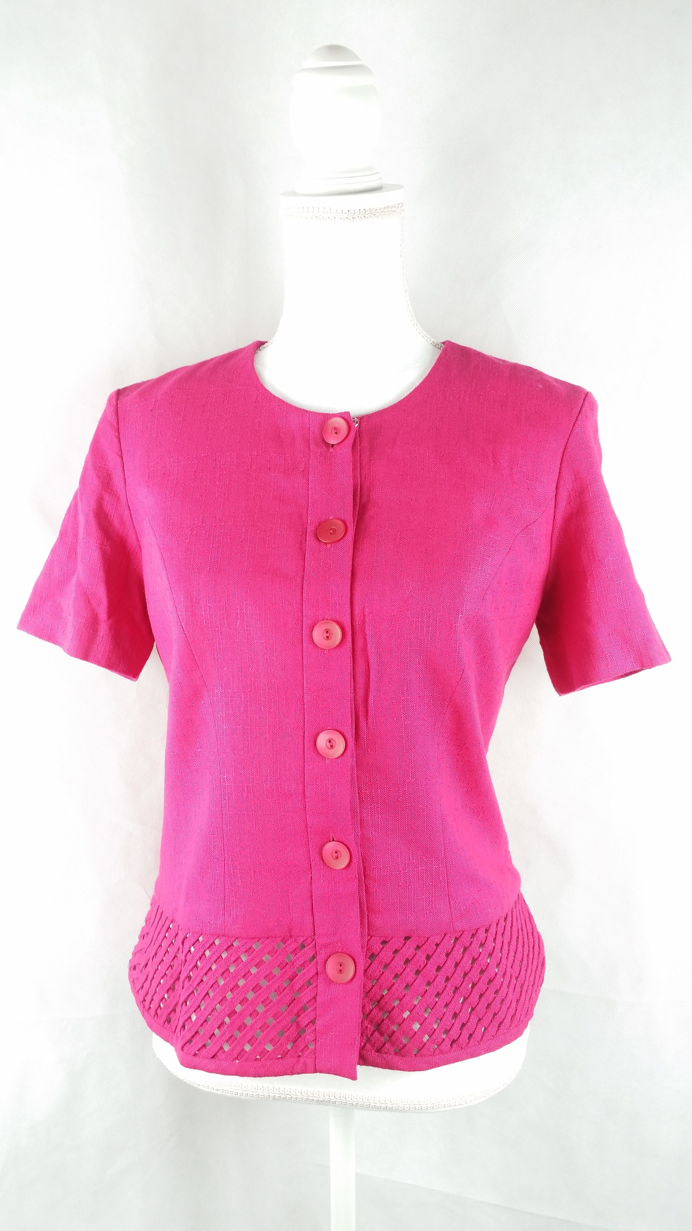 Vintage Hot Pink Woven Detail Jacket Sz 6 Small | Hot pink, Short ...
