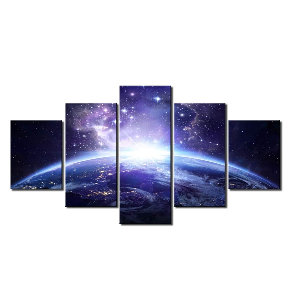 Sky Stars Galaxy Nebula Planet Canvas Print Painting Framed Home Decor Wall Art