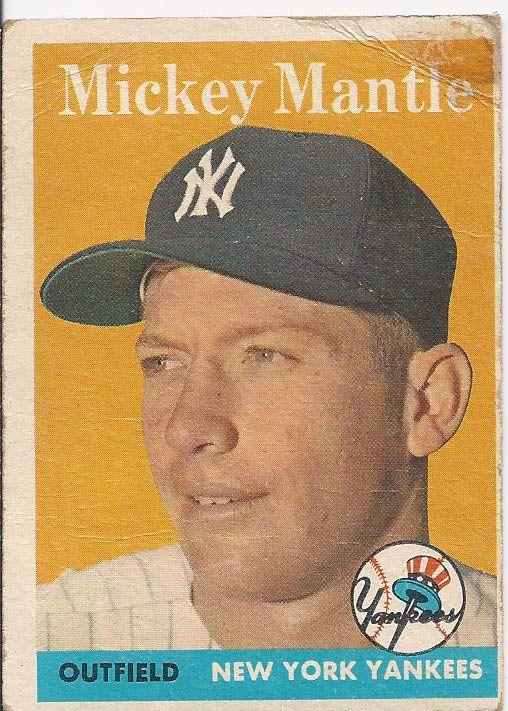 1958 Topps Mickey Mantle 150 Old Baseball Cards Mickey Mantle Yankees Baseball