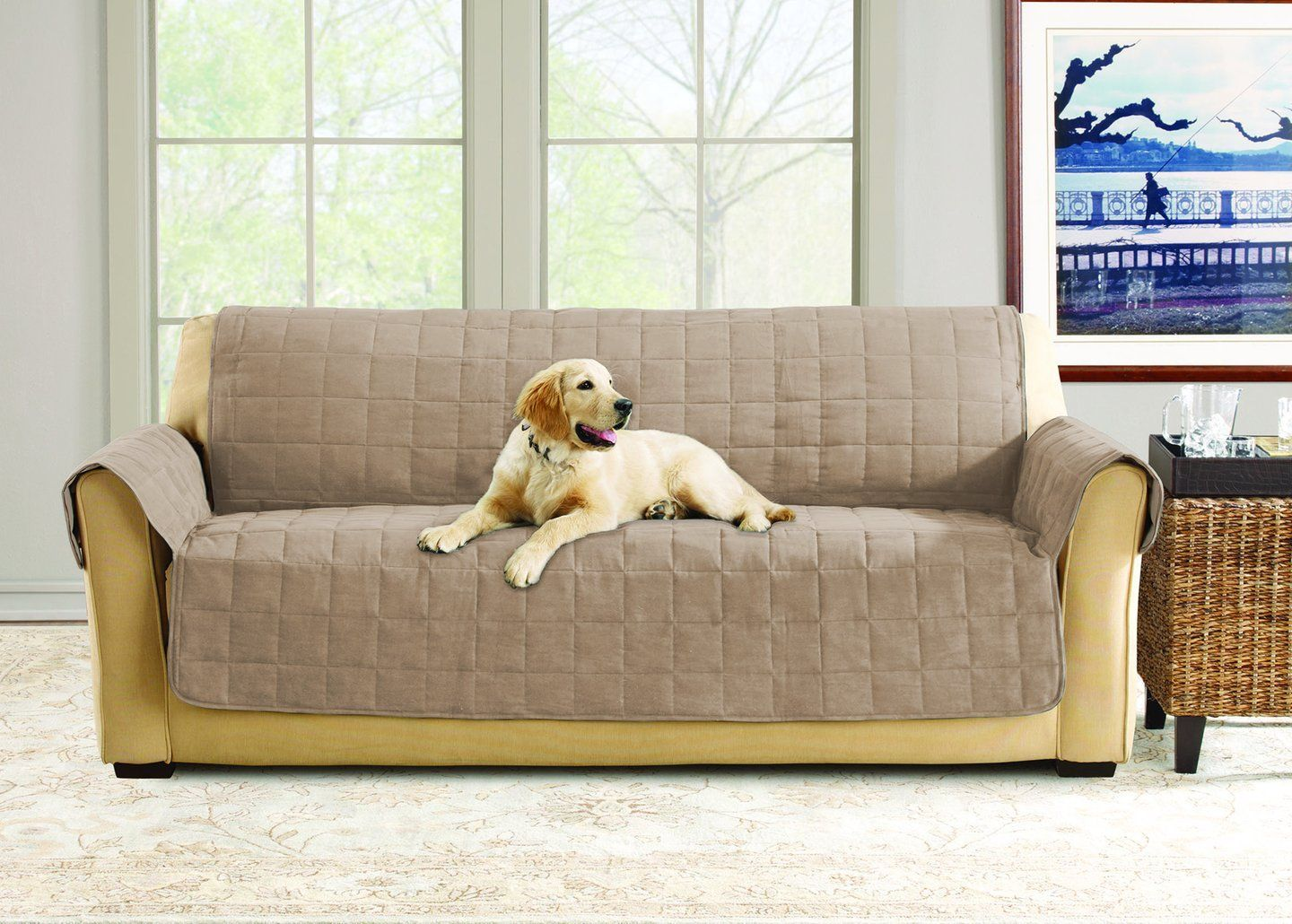 Deluxe Comfort Sofa Furniture Cover With Arms Microban Antimicrobial Pet Furniture Cover Machine Washable Sofa Throw Cover Sofa Throw Sofa Furniture