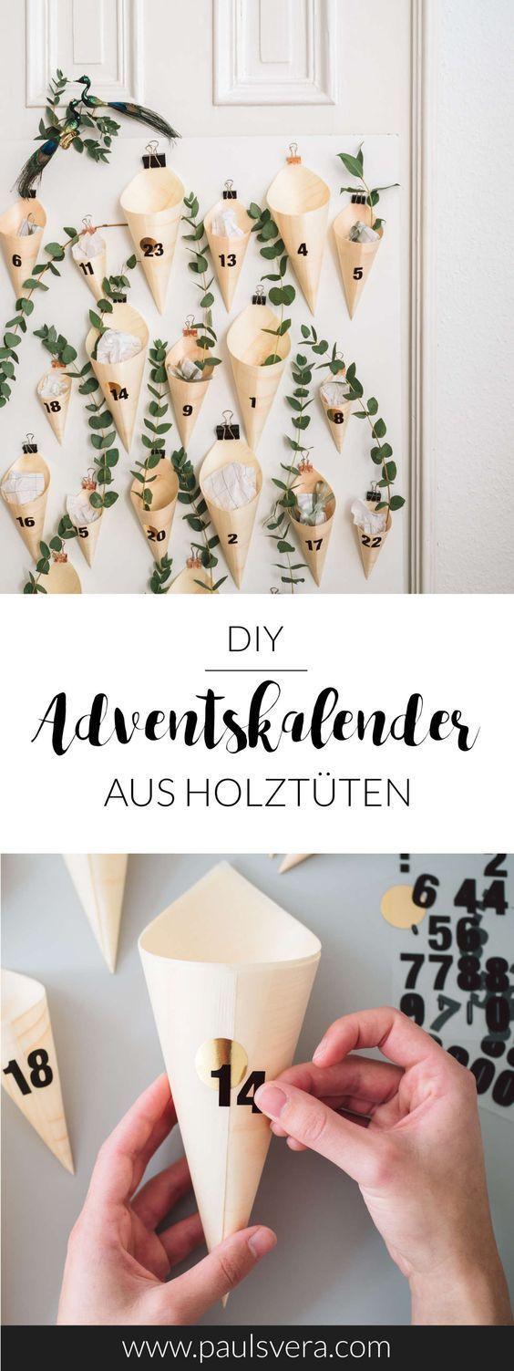 DIY Adventskalender aus Holztütchen #adventkalenderbasteln